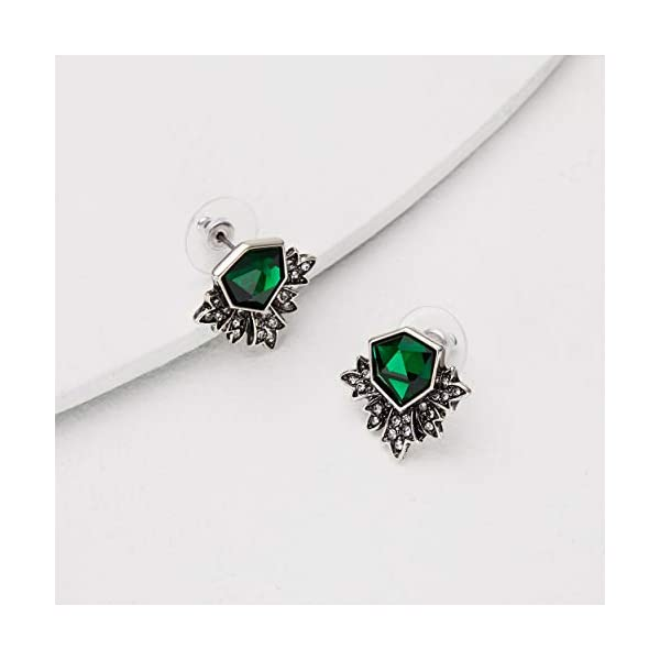 Zealmer Women Rhinestone Green Stud Earrings 4