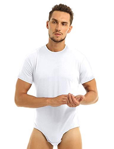 JEATHA Maillot de Corps Sport Homme Body T-Shirt Blouse Manche Courte Justaucorps Danse Gymnastique Competition Bodysuit Soirée Cocktail Bal Fête Leotard Ballet M-XXL Blanc XL