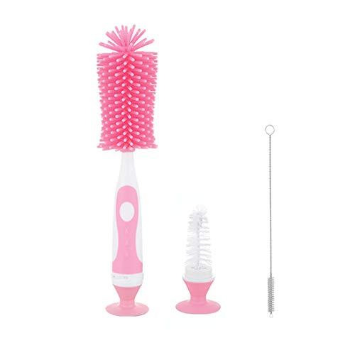 UUKING - Juego de cepillos para botella de bebé, diseño de gel de sílice, color rojo