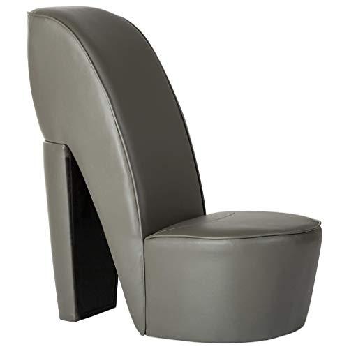 Tidyard Poltrona Design a Forma di Scarpa con Tacco in Ecopelle Oro/Grigio,Poltrona in Ecopelle,Poltrona Design,Poltrona Soggiorno in Pelle Artificiale 43x82,5x85,5 cm