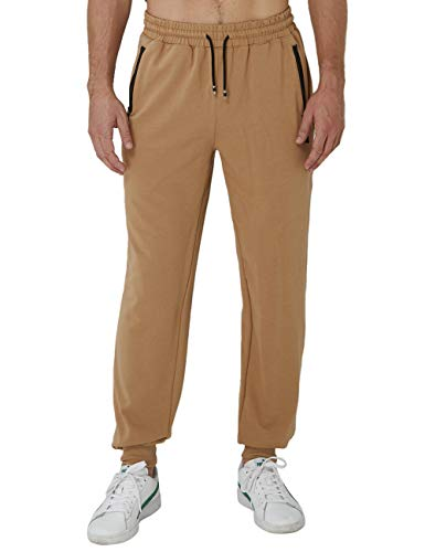 Idgreatim Herren Jogginghose Jogger Trainingshose Sporthose Sweatpants Hosen Freizeithose Fitnesshose Slim Fit Elastic Waist Zip Pockets