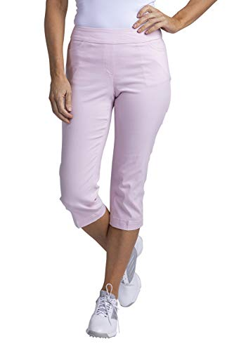 SLIM-SATION Women's Golf Wide Band Pull-On Capri Pant with Real Front Pockets(Ice Pink,18)