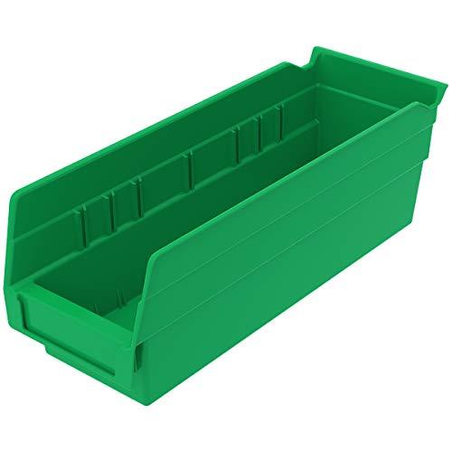 Akro-Mils 30120 Plastic Nesting Shelf Bin Box, (12-Inch x 4-Inch x 4-Inch), Green, (24-Pack)