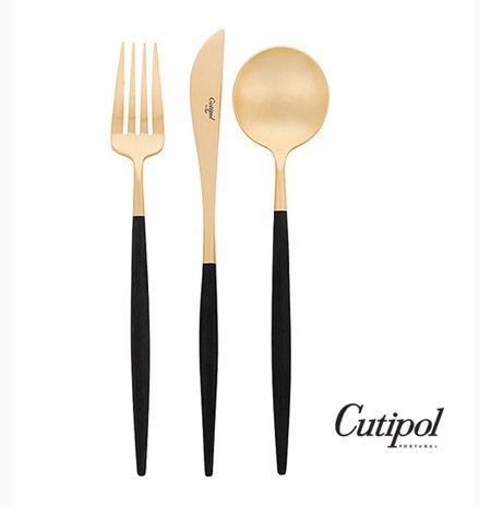Cutipol GOA Besteck-Set für Zuhause, Schwarz / Gold, 3-teilig, Löffel, Gabel, Messer, professionelles Besteck