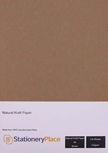 Stationery Platz – Kraftpapier natur braun recyclé- A4 100 gm – Pack 100 Blatt