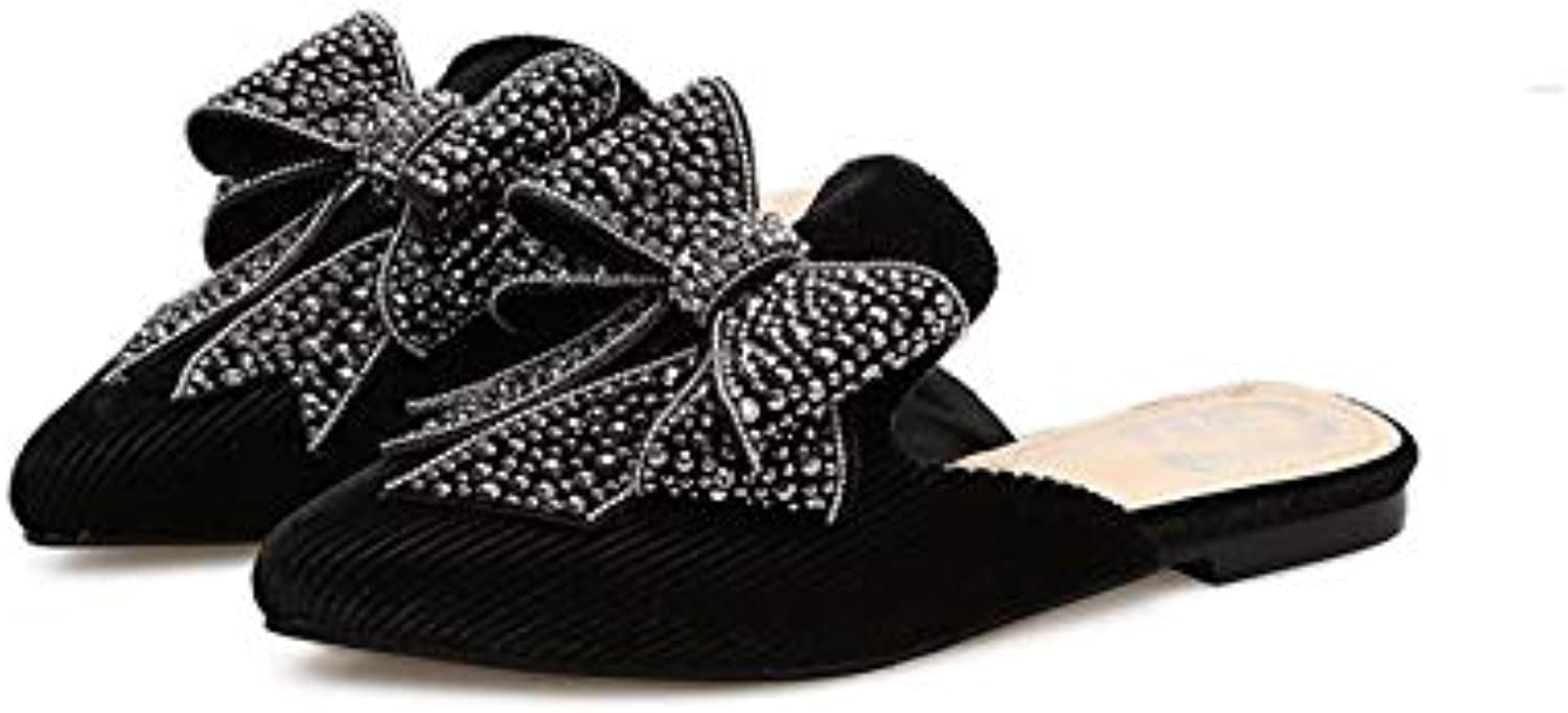 Brilliant sun Women Velvet Knotted Bow Mules Pointy Toe Low Heel Flat