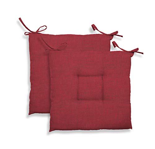 GEMITEX Cuscino Sedia Trapuntato Creta, Set da 2 Pezzi, Decoro 1550 Rosso, 39 x 39 x 5 cm, Multicolore, 39 x 39 x 10 cm