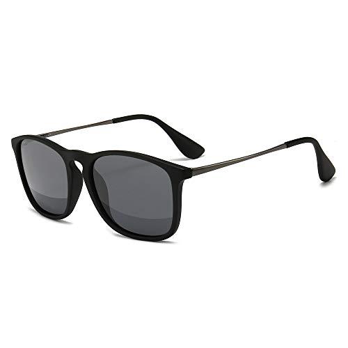 SUNGAIT Polarizadas Gafas de sol Mujer hombre Retro 100% protección UVA conducción (Fregar Negro/Gris) 1509