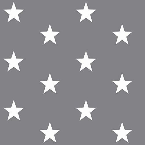 babrause® Baumwollstoff Sterne Grau Webware Meterware Popeline OEKOTEX 150cm breit - Ab 0,5 Meter