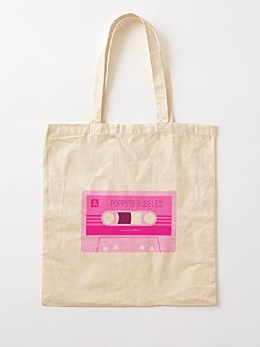 Générique Tape Pop Bubbles Mixed 80S Gum Perky Bubble Music Floating Series Popping | Einkaufstaschen aus Segeltuch mit Griffen Einkaufstaschen aus nachhaltiger Baumwolle
