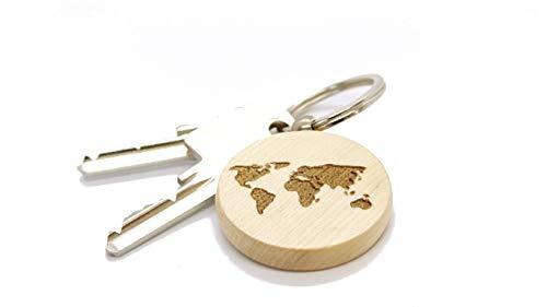JaRo Weltkarte Schlüsselanhänger rund aus Holz Gravur, wahlweise personalisiert mit Namen und Datum, Unisex Accessoire Geschenkidee Geschenk Glücksbringer Weihnachten Geburtstag (ohne Gravur)