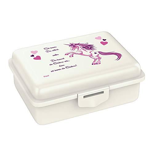 Fizzii Lunchbox (Inkl. Obst-/ Gemüsefach, schadstofffrei, spülmaschinenfest, Motiv: Einhorn)