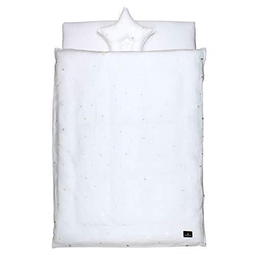 PUPPAPUPO丸洗いできるベビー布団5点セットレギュラーサイズ【シャイニングスター】ダブルガーゼ綿100%新生児用(ゴールド)