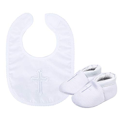 Baby Boys' Premium Soft Sole Cross Christening Baptism Slipper Shoes with Embroidered Cross Bib, 2 Pack 3-6 Months