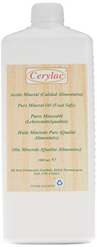 Huile Minérale pure pour le bois, l'ardoise et la pierre - 1000 ml. Qualité alimentaire. Approuvée par la Pharmacopée Royale Espagnole, par la Pharmacopée britannique, la certification des États-Unis DAB, la certification Codex USB178.3620 (a) et la spécification FDA172.878 USP.