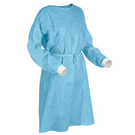 100-Pack Disposable Isolation Gown, FDA Registered, CE certified Level 2 PP & PE 40g, Fully Closed Double Tie Back, Knitted Cuffs, Fluid Resistant, Unisex