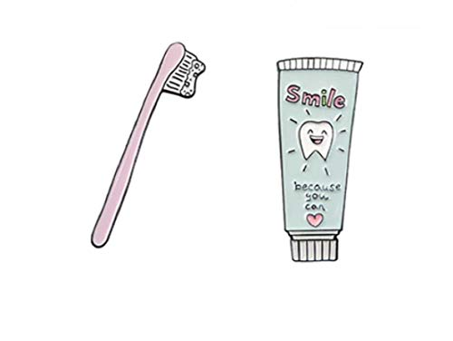 """FTT Crazy Cute Pink Toothbrush & Smile Because You Can Toothpaste 1"""" Enamel Pins. Perfect on The ID Badge of a Dental Hygienist, or Anyone on The Dental Team. You Will Receive Both Pins"""