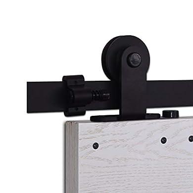 Foto di CCJH 6FT-183cm Acciaio Binario Rulli per Porta Scorrevole Kit Accessori per Una Porta Scorrevoli di Legno Stile Rustico
