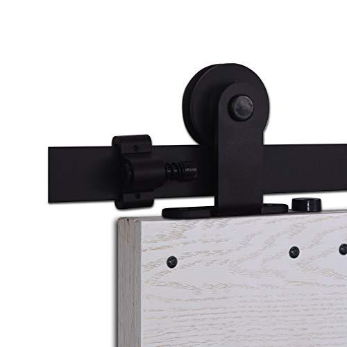 CCJH 6.6FT-200cm Herraje para Puerta Corredera Kit de Accesorios para Puertas Correderas Rueda Riel Juego para Una Puerta de Madera