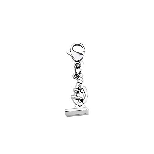 CHOORO Microscope and DNA Double Helix Necklace Science Gift for Laboratory Technologist/Science Student (Microscope Zipper Pull)