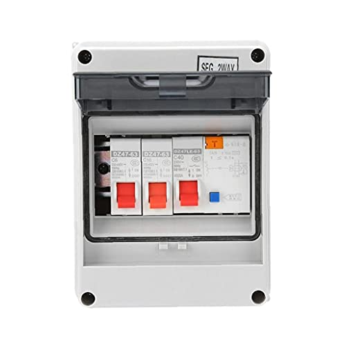 Unidad de consumidor Panel de interruptores de circuito de 2 vías Mini Protección de fugas Placa de fusible 40A 30MA RCD 2 MCB 6A + 16A
