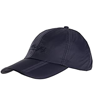 Sumolux Men Women Outdoor Rain Sun Waterproof Quick-Drying Long Brim Collapsible Portable Hat Dark-Blue
