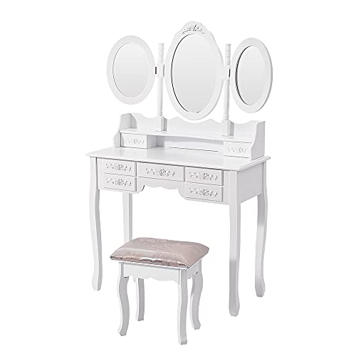 Vanity Makeup Table with 7 Drawers, Dressing Table with Foldable 3 Mirrors, Detachable Vanity Table with Cushioned Stool (White)