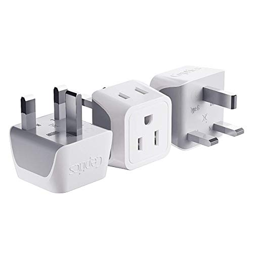 UK  Hong Kong  Ireland Travel Adapter Plug by Ceptics - Usa Input - Type G - Safe Grounded Perfect for Cell Phones  Laptops  Camera (3 Pack) - Dual Inputs - Ultra Compact - Light Weight (CT-7)