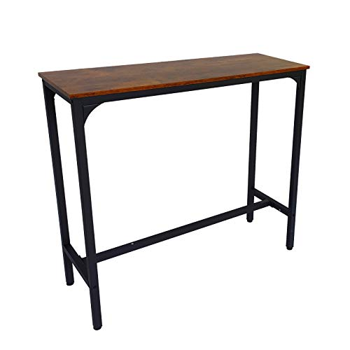 Rectangular Height Kitchen Bar Table - Pub High Dining Room Table Narrow Space Console Bistro Tables for Indoor Modern Industrial Style Black Frame