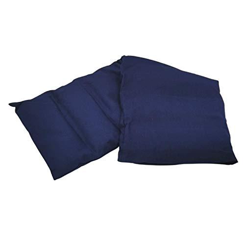 Aminata BALANCE Körnerkissen 60x20 cm Mikrowelle groß für Nacken, Schulter & Rücken Raps-Samen-Körner-Kissen Wärme-Kissen - dunkel-blau - Motiv für Damen und Herren - Abnehmbarer Bezug