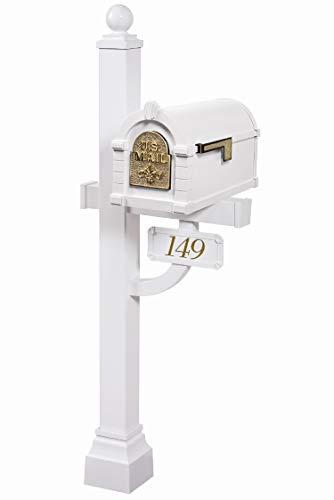 Gaines - Fleur de Lis Keystone Series Custom Mailbox Set (White/Polished...