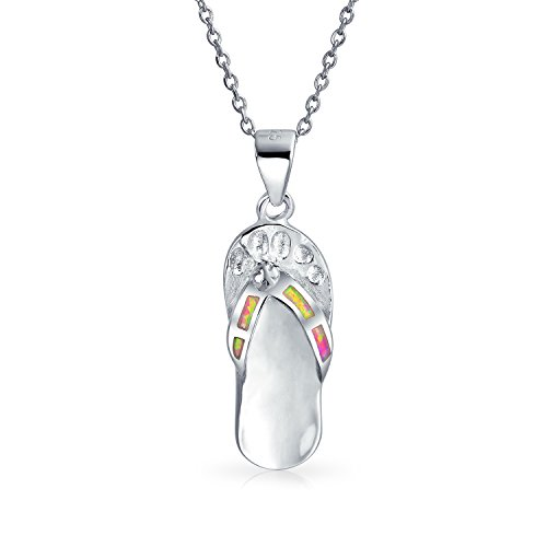 Bling Jewelry Rosa Regenbogen Erstellt Opal Nautischn Flip Flop Sandale Anhänger Halskette Für Frauen 925 Sterling Silber Oktober Geburtsstein