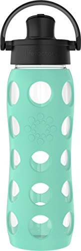 Lifefactory 22 Oz Glass Active Flip Cap/Silicone Sleeve Water Bottle, 22 Ounce, Sea Green