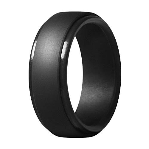VPbao 1/8 paquetes de 8 mm de ancho anillo de boda de silicona apilable anillos de goma asequibles negro