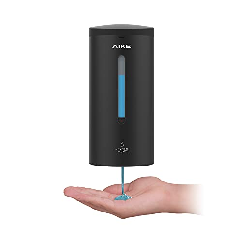 AIKE®AK1205 dispensador de jabón automático,dispensador de desinfectante de Manos automático de Pared,dispensador de Gel de Alcohol,Inoxidable 304,Volumen de líquido Ajustable,700ml.(Negro)