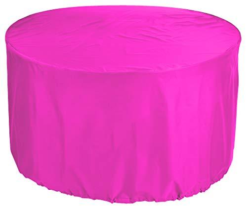 KaufPirat Premium afdekzeil rond Ø 180x80 cm zonne-eiland tuinmeubelen tuintafel afdekking beschermhoes afdekhoes outdoor rond patio tafel cover roze