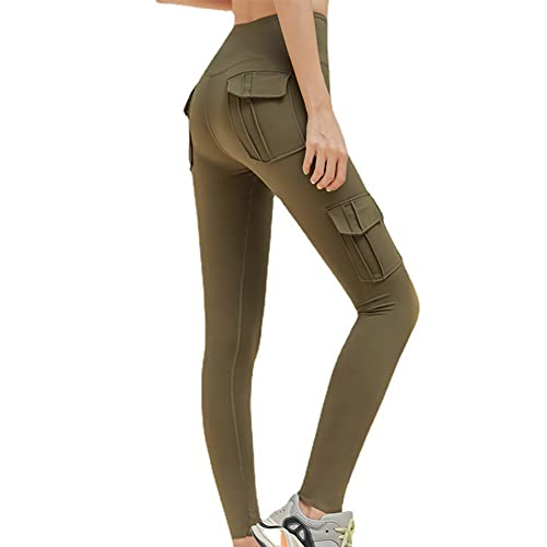 JRYX Multi Pockets Stretchy Yoga Pants Women's High Waisted Tooling Style Tight Splicing Leggings (Green,XXL)