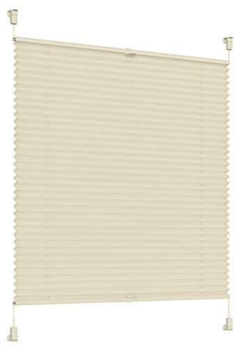 Sonello Plissee Klemmfix ohne Bohren 85cm x 100cm Creme Faltrollo Plisseerollo Jalousie für Tür & Fenster Blickdicht Sichtschutz Sonnenschutz Fertifplissee Rollo