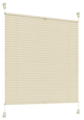 Sonello Plissee Klemmfix ohne Bohren 80cm x 120cm Creme Faltrollo Plisseerollo Jalousie für Tür & Fenster Blickdicht Sichtschutz Sonnenschutz Fertifplissee Rollo