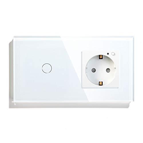 BSEED Smart (Neutralleiter erforderlich) WIFI Alexa 1 Fach 1 Weg lichtschalter mit steckdose EU 157 Style unterstützen Google Home/Alexa Wandleuchtensteckdosen Weiß