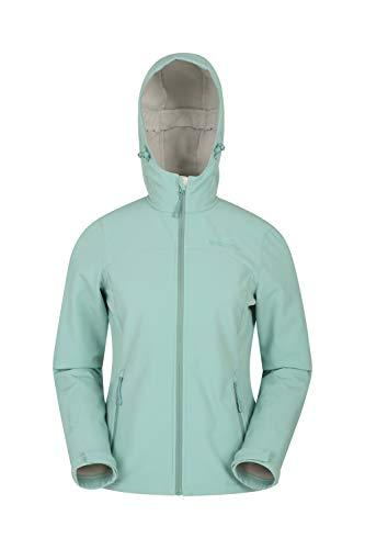 Mountain Warehouse Exodus Wasserabweisende Softshell-Damenjacke - atmungsaktive Regenjacke, länger im Rücken - großartig zum Spazierengehen, Reisen, Wandern, Frühling Hellgrün 46