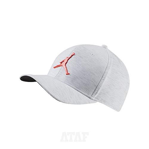 Nike Jordan CLC99 Cap Metal Jumpman Hat, White/Htr/(Infrared 23), MISC