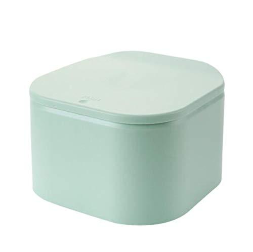 Toho - Cubo de basura de plástico pequeño con tapa de empuje, para guardar basura, para vestir, mesita de noche, escritorio, color verde