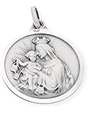 Silver & Steel Medalla escapulario, Virgen del Carmen y corzón de Jesus