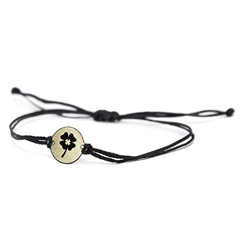 Dije de trébol de cuatro hojas de acero inoxidable con pulsera ajustable de doble cadena negra para hombres y mujeres - Joyería impermeable e hipoalergénica