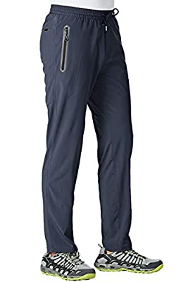 TBMPOY Men's Outdoor Lightweight Hiking Mountain Pants Running Active Jogger Pants(Navy,us L)