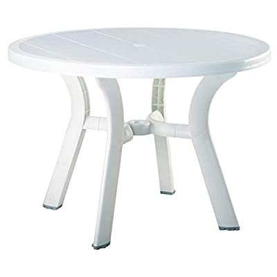 """Pemberly Row 42"""" Round Resin Patio Dining Table in White, Commercial Grade"""