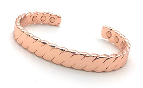 Cretoni Uni-Braided Pure Copper Magnetic Bracelet for Men and Women : 6 Powerful Magnets : Perfect for Fashion, Golf and Natural Relief of Joint Pain, Arthritis, RSI, Carpal Tunnel, Fatigue, Migraines