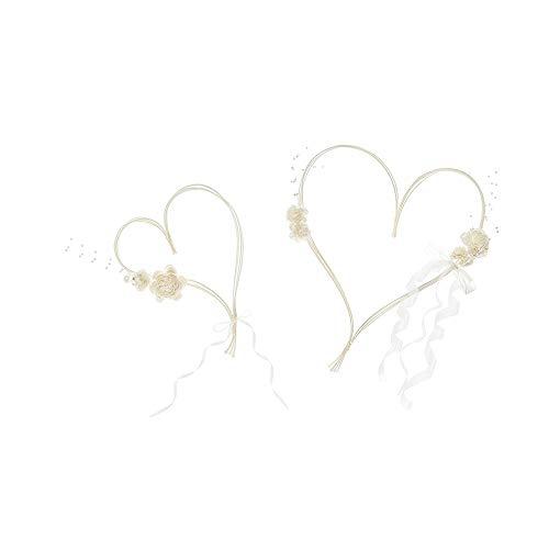 PartyDeco Herz mit Saugnapf Dekoration Braut, Weiß/Creme, 19 cm / 30 cm