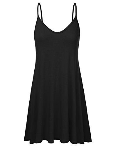 NINEXIS Women's Basic Spaghetti Strap Cami Tank Tunic Dress Black 2XL